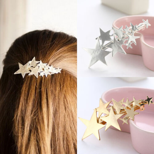 Women Gold Silver Plated Star Hair Clip Barrette Hairpin Bobby Jewelry Accessory