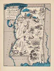 1930s Animated FLORIDA State Map RARE Map Reprint Map of Florida Wall Art usbl