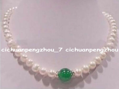 Natural 7-8mm White Pearl /& 10mm Green Jade Gemstone Round Beads Necklace 18/'/'