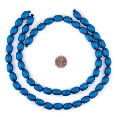 Azul Blue Oval Natural Wood Beads 15x10mm Large Hole 16 Inch Strand
