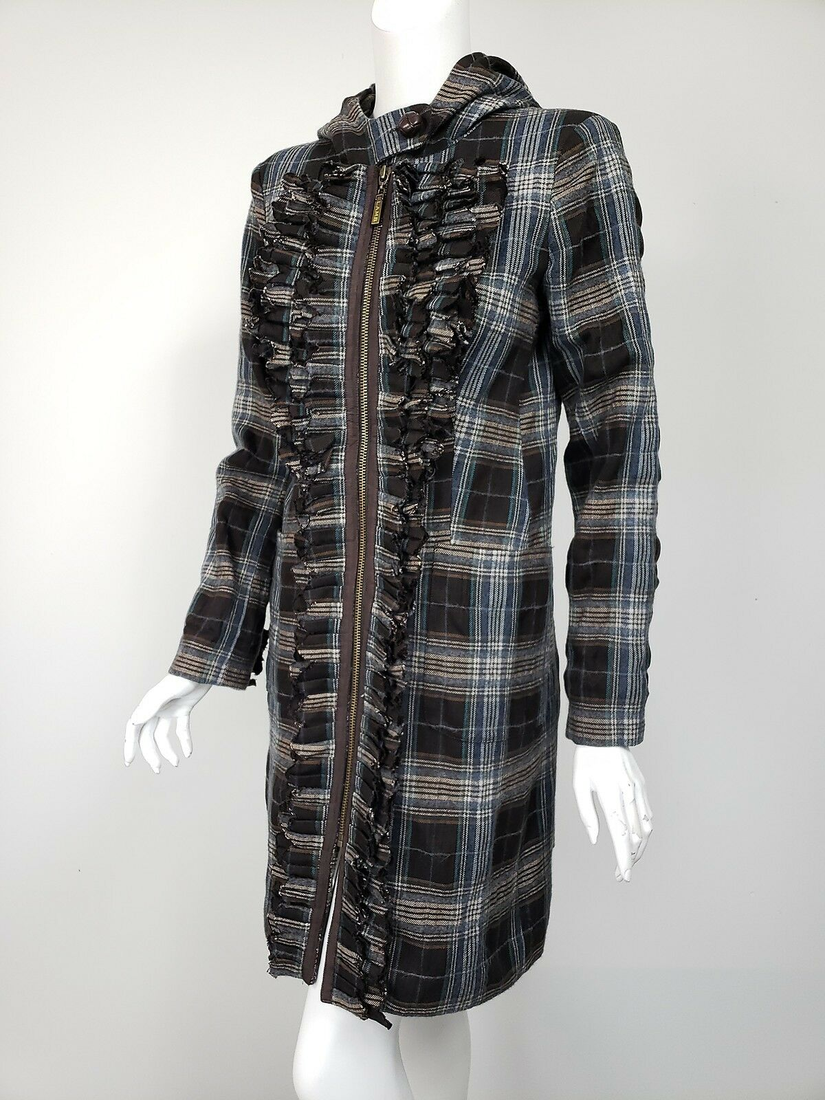L.A.M.B. Gwen Stefani Brown bluee White Plaid Cotton Wool Ruffled Front Coat sz 4