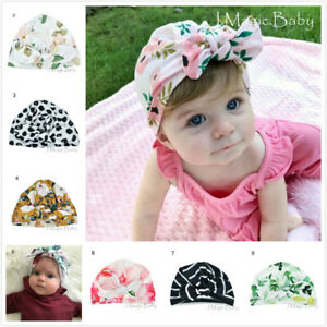 Baby-Girl-Flower-Turban-Bow-Silky-Soft-Touch-Stretchy-Cotton-Hat-Beanie-Infant