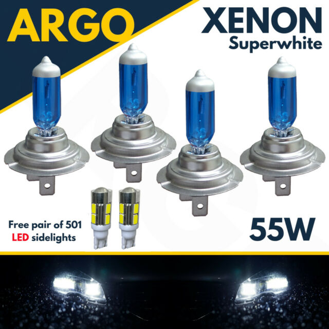 4 X H7 + 501 Led Smd 55w White Xenon High/low/sidelight Beam Headlight Bulbs 12v