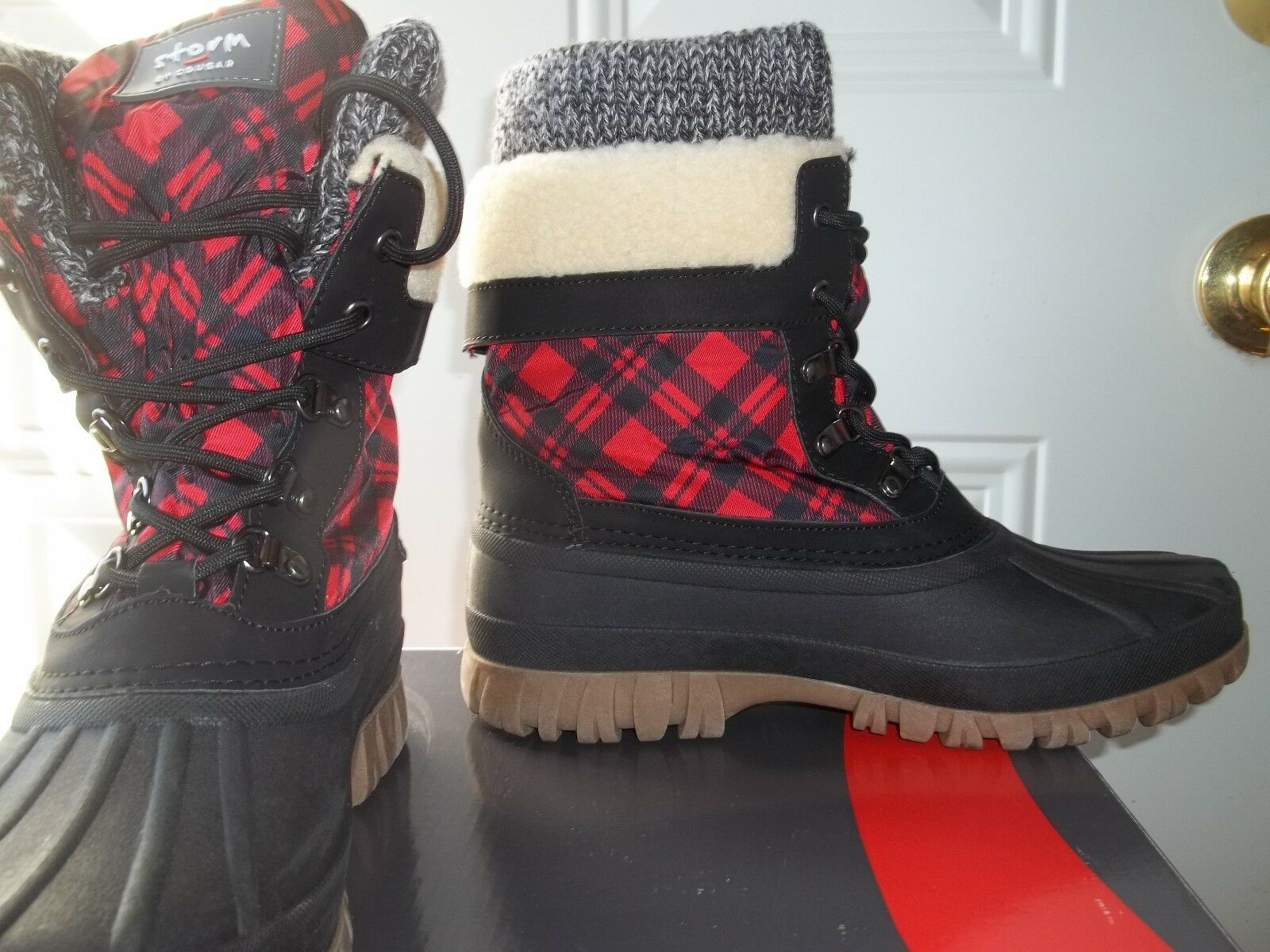 Cougar Waterproof Lace-Up Lace-Up Waterproof ROT Plaid With Fleece Lining Stiefel Größe 9 Med ad07ae