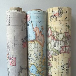 Vintage world map cotton linen fabric for curtain upholstery image is loading vintage world map cotton linen fabric for curtain gumiabroncs Images