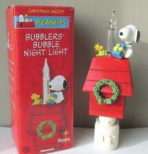Peanuts Snoopy & Woodstock Christmas Bubbler Night Light On Doghouse Roman New