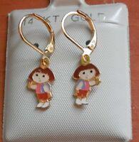14k Gold Filled Dora Dangle Earrings Kids Girls Little Girl Child / Usa