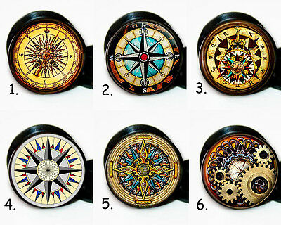 Choose a pair of Vintage Compass ear gauges tunnel screw back plugs