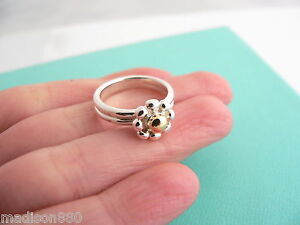 053e59ace3734 Details about Tiffany & Co Silver 18K Gold Picasso Jolie Flower Bead RIng  Band Sz 5.25 Rare