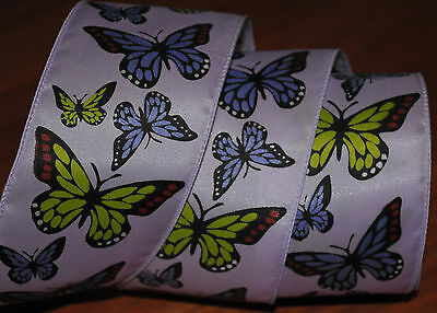 Wired Ribbon~Blue Butterfly~Green~Purple~Spring~Summer~Wreath~Gift~Craft~Bow!
