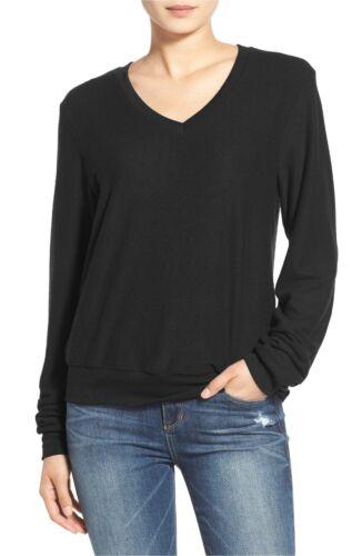 Wildfox pullover black long sleeve v neck baggy beach jumper sweatshirt sz M