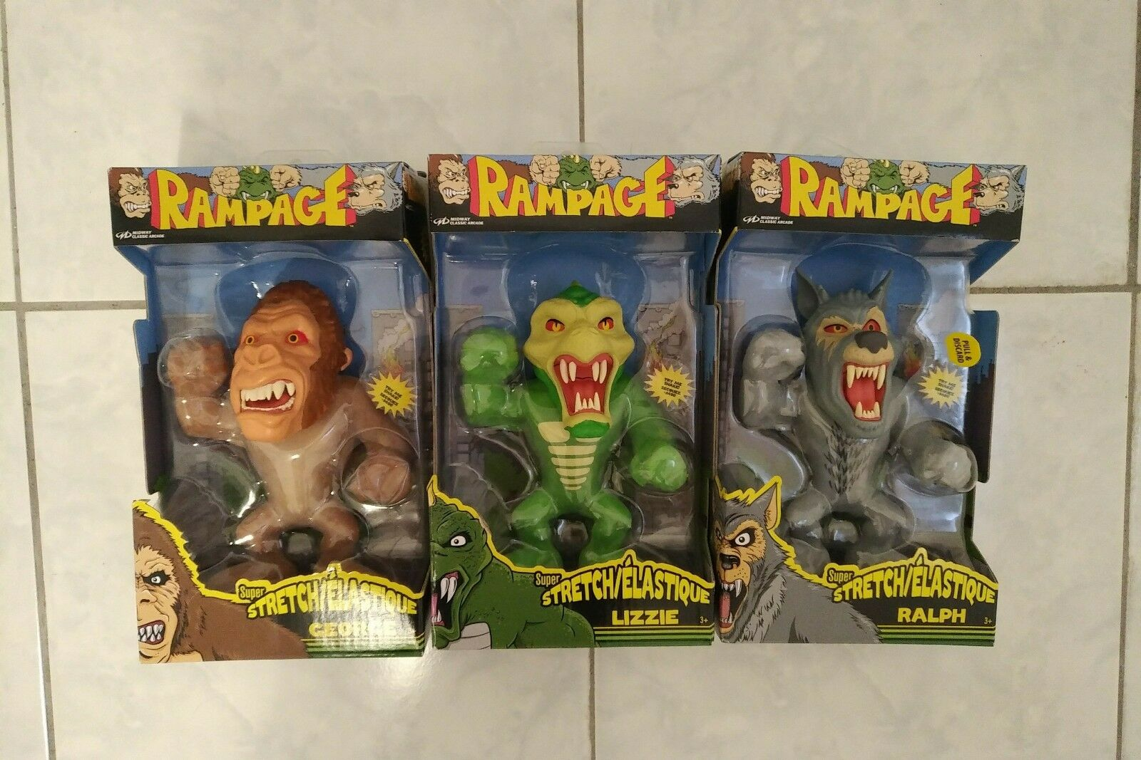 RAMPAGE Midway Arcade Complete Set Of 3 Walmart Exclusive Super Stretch Figures