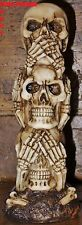 Hear See Speak No Evil stacked skulls Totem pole Gothic Dark Fantasy Ornament