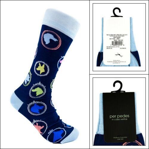 New PER PEDES Swag Navy Mercerized Cotton Dress Socks One Size NWT $32!
