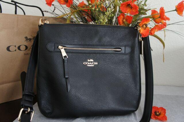 NWT Coach F34823 Mae Pebble Leather Crossbody Bag in Black $328