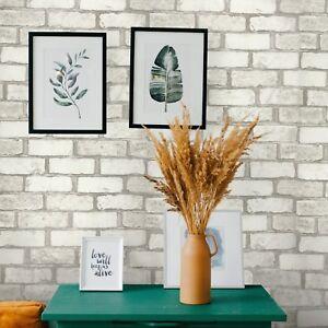 Vinyl Wallpaper Wall Coverings Textured Tan White Modern Faux Brick