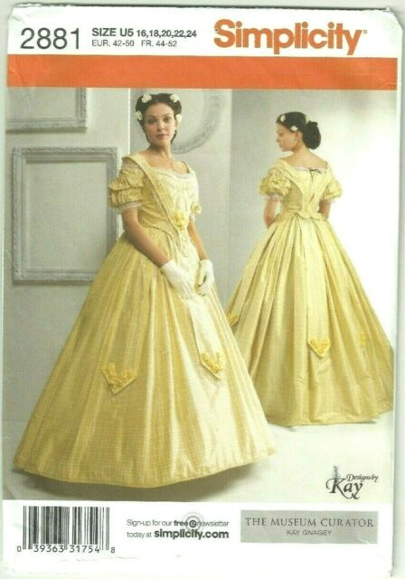 Plus Size 16-24 Civil War Southern Belle Dress Gown Costume Sewing Pattern