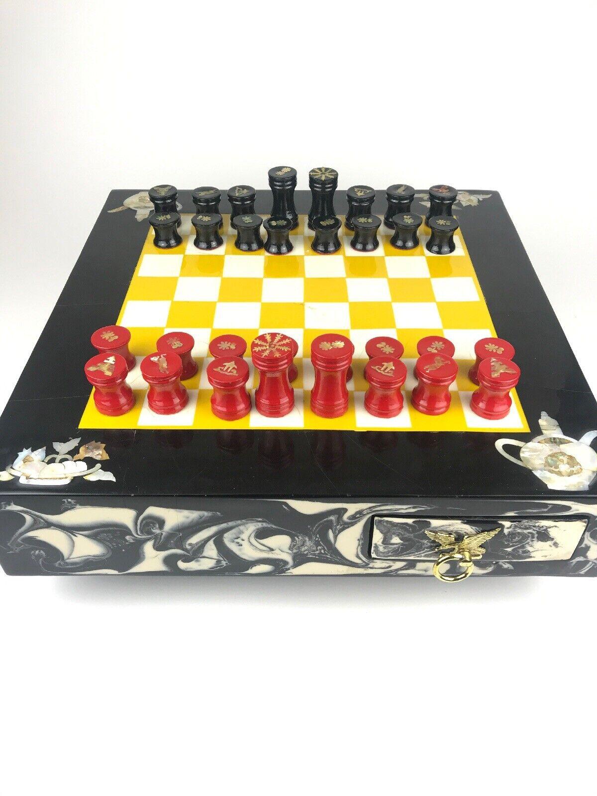 """17"""" Chess Board bois, Marble, Mother of  Pearl, And Crushed Abalone Vintage Rare  commandez maintenant avec gros rabais et livraison gratuite"""