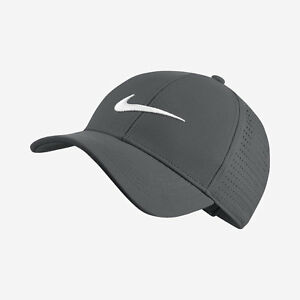 NIKE UNISEX LEGACY 91 PERFORATED DARK GREY WHITE ADJUSTABLE GOLF HAT ... 324b41c69bf