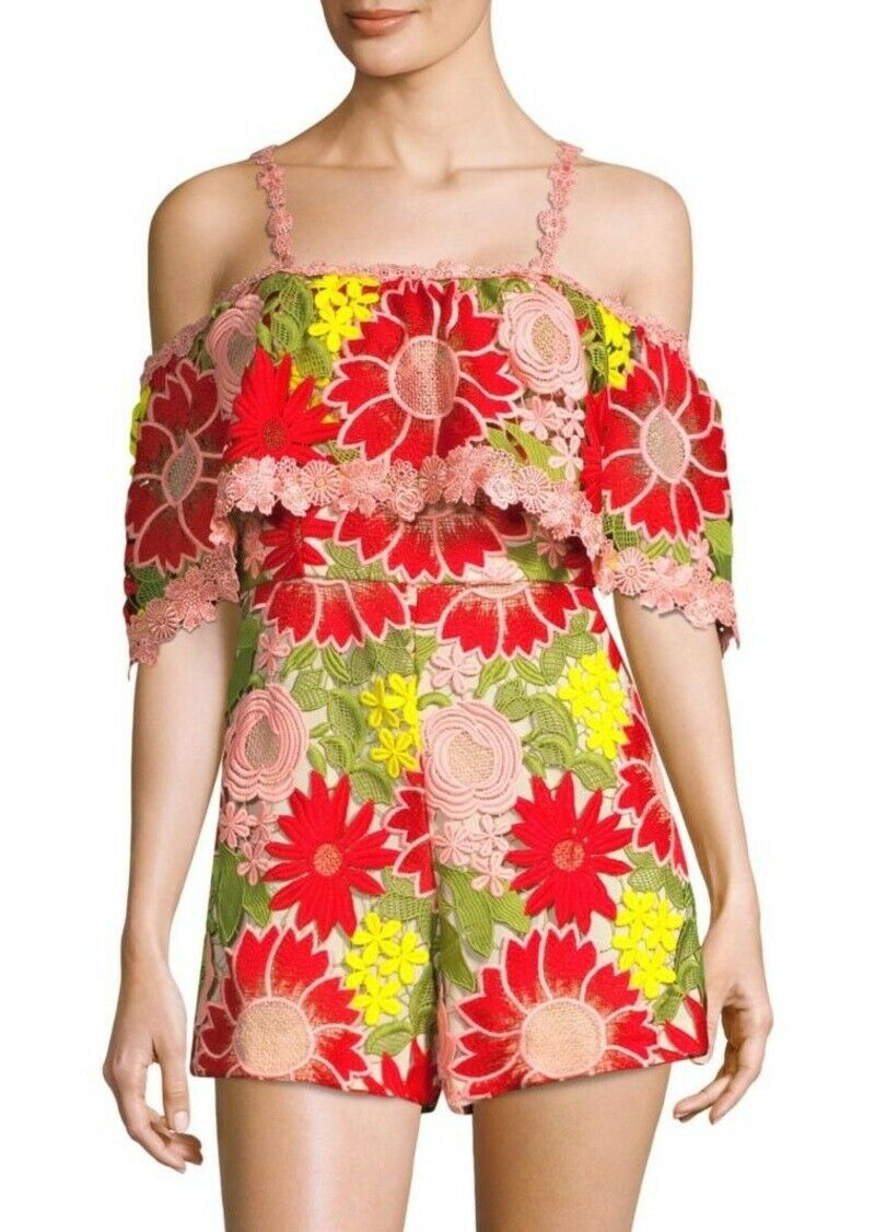 ALICE & OLIVIA ANELLE FLORAL LACE MULTI COLOR ROMPER  DRESS sz 0
