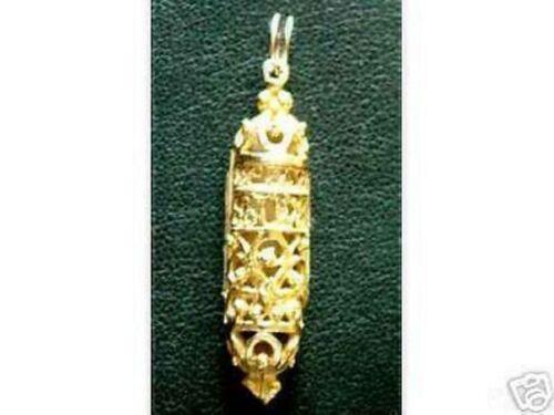 COOL Mezuzah GOLD Plated Jewish Judaism Charm Silver Jewelry