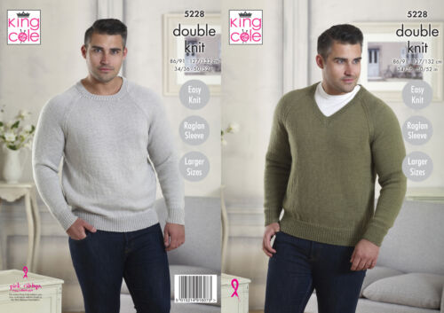 Easy Knit Mens Raglan Sleeve Sweaters Double Knitting Pattern King Cole 5228