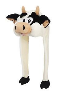Tier Mütze Plüsch Kuh schwarz-weiß