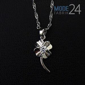 Halskette Blume 925 Sterling Silber mit Zirkonia weiß Kette Collier Damen NEU