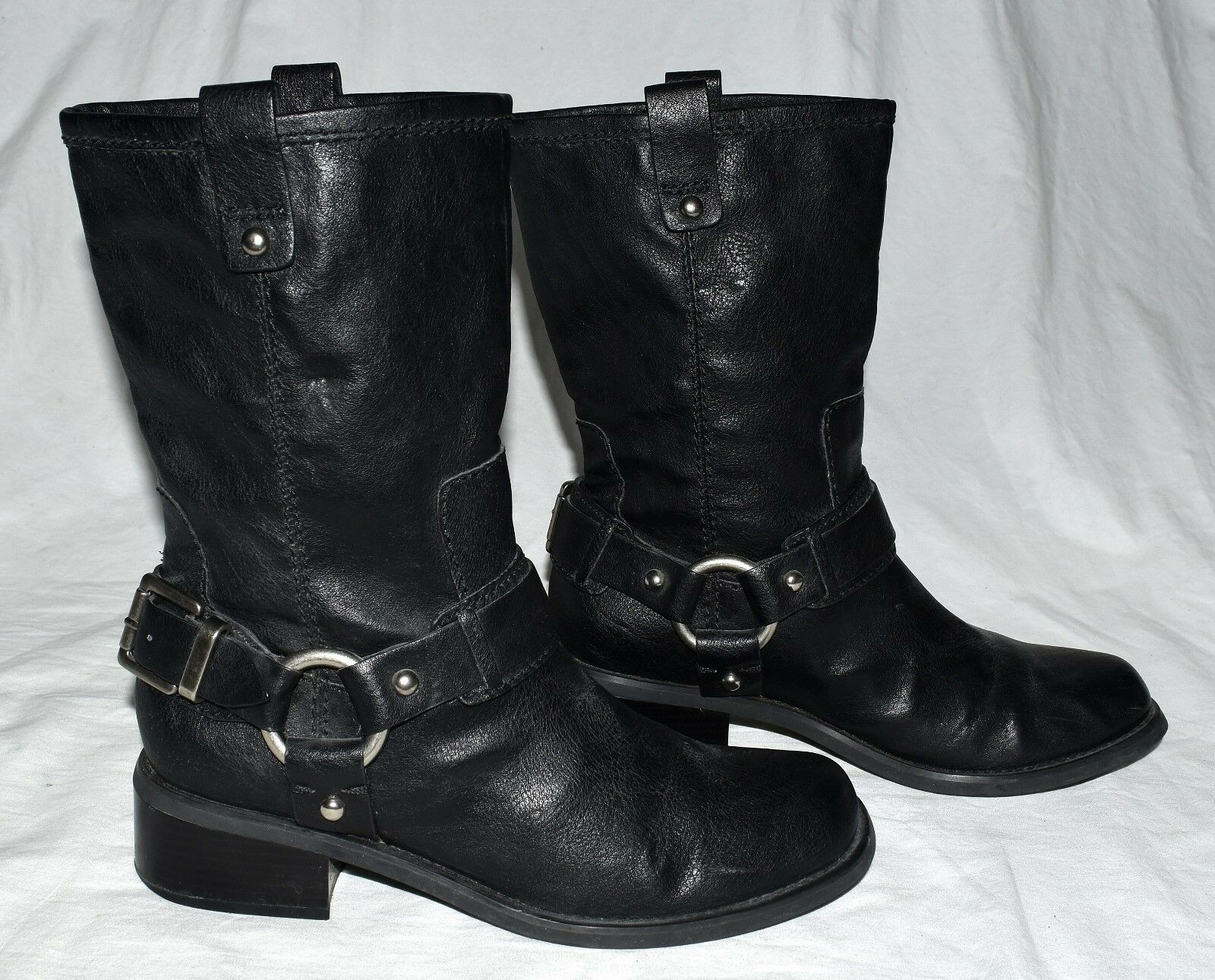 Jessica Simpson Inna Boots Black Faux Leather Harness Bikers Motorcycle Boots Inna Sz 7.5M fb8326