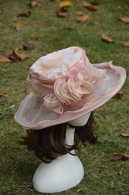 Satin Flower Printing Women Vintage Church Wedding Kentucky Derby Hat