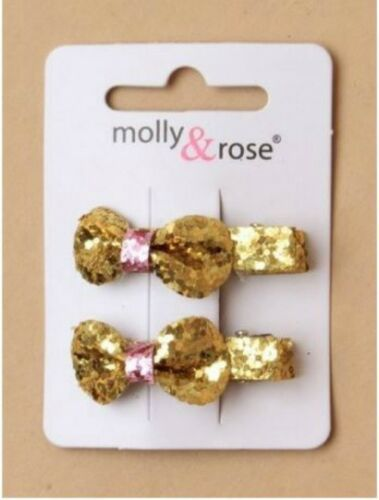 Girls Kids 2 Pack 3.5cm Glitter Bow Hair Clips Accessories Gold Silver Pink