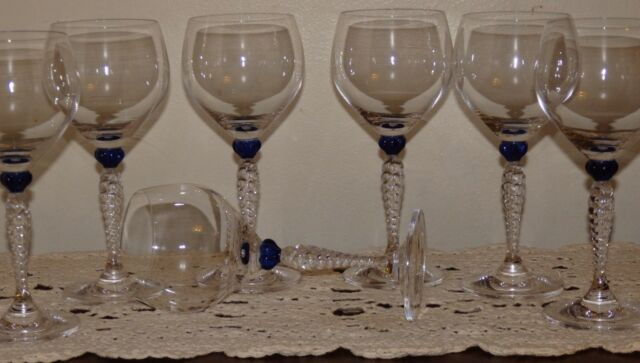 GORHAM Crystal ARIANA COBALT BLUE Wine Stemware Glasses Twisted Stem Set of 7