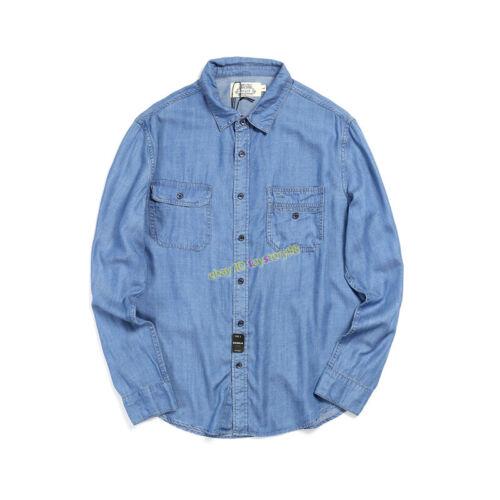 Summer American Vintage Casual Men/'s Breathable Loose Long Sleeved Denim Shirt