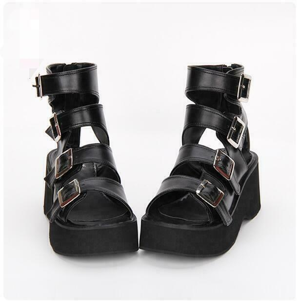 Women Buckle Strap Open Toe Gothic Punk Block Heels Platform Summer Sandals shoes
