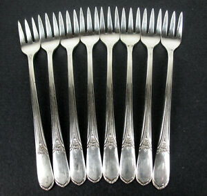 8-x-Seafood-Cocktail-Forks-Rogers-Devonshire-Mary-Lou-1938-vintage-silverplate
