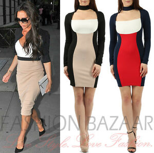 8837471bd41a Image is loading Womens-Celebrity-Colour-Block-Choker-Neck-Bodycon-Dress-