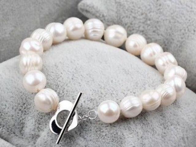 "9-10MM white baroque freshwater cultured pearl bracelet 7.5-8"" LL003"