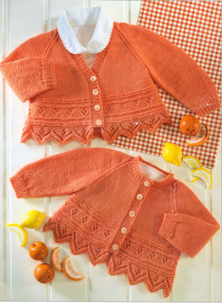 """Choice of Neck-Plain or Lacy Edge Chunky Wool Baby Cardigans 26/"""" To Knit 16/"""""""
