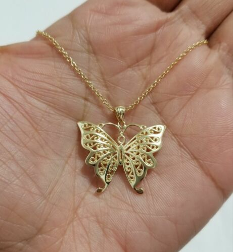 Women/'s 14K Yellow Gold Over Butterfly Charm Pendant