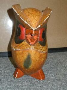 Unique-Carved-Wooden-Owl-Cute-Painted-Deco-Vintage-Artwork-7-034-Hand-Painted-OOAK