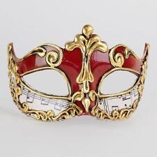 Máscara veneciana roja y oro manuscrito Mascarada Baile ~ 121/3 sfrs