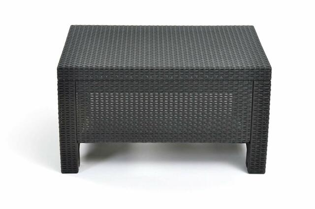 Coffee Table Outdoor Storage Iron Rectangle Modern Style Wicker