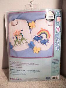 "Dimensions//Baby Hugs Stamped Cross Stitch Kit 9/""X14/"" 2//Pkg-Noah/'s Ark Bibs"