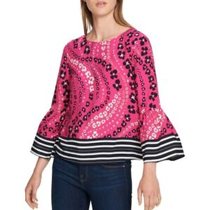 TOMMY-HILFIGER-NEW-Women-039-s-Woven-Printed-Bell-sleeve-Blouse-Shirt-Top-TEDO