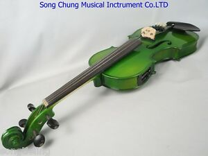 Green colors electric & acoustic violin 4/4 #7848