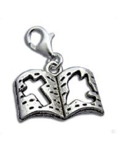 NEW TIBETIAN SILVER LOVELY SILVER  OPEN  BIBLE /& PEACE  BOOK CLIP ON CHARM