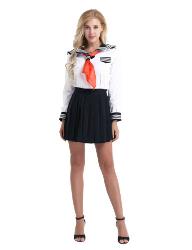 Women School Girl Japanese Sailor Suit Cosplay Uniforms Outfit Set Anime Dress