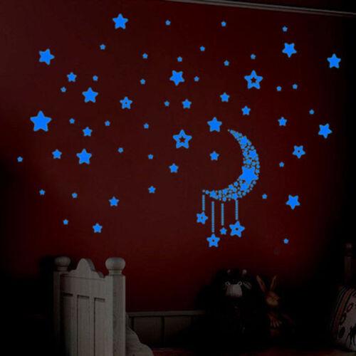 A Set 3D Stars Glow In The Dark Luminous Fluorescent Wall Stickers Kids Bedroom
