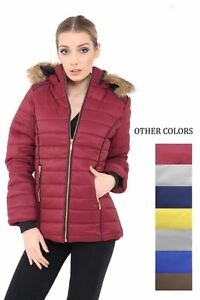 Ladies Women Fur Hooded Quilted Padded Puffer Bubble Jacket Parka Warm Coat 8-14
