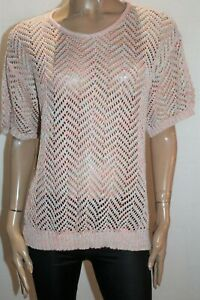 Millers-Brand-Pink-Candy-Zig-Zag-Short-Sleeve-Jumper-Size-M-BNWT-TR11